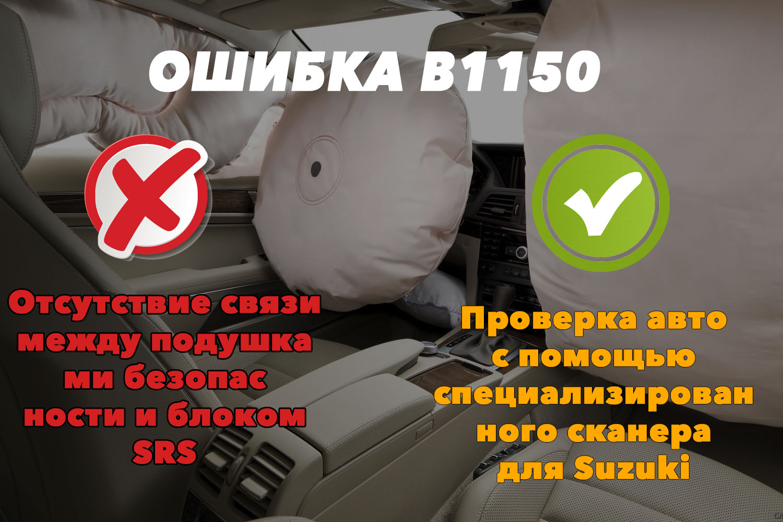 B1150 – отсутствие связи между подушками и блоком SRS