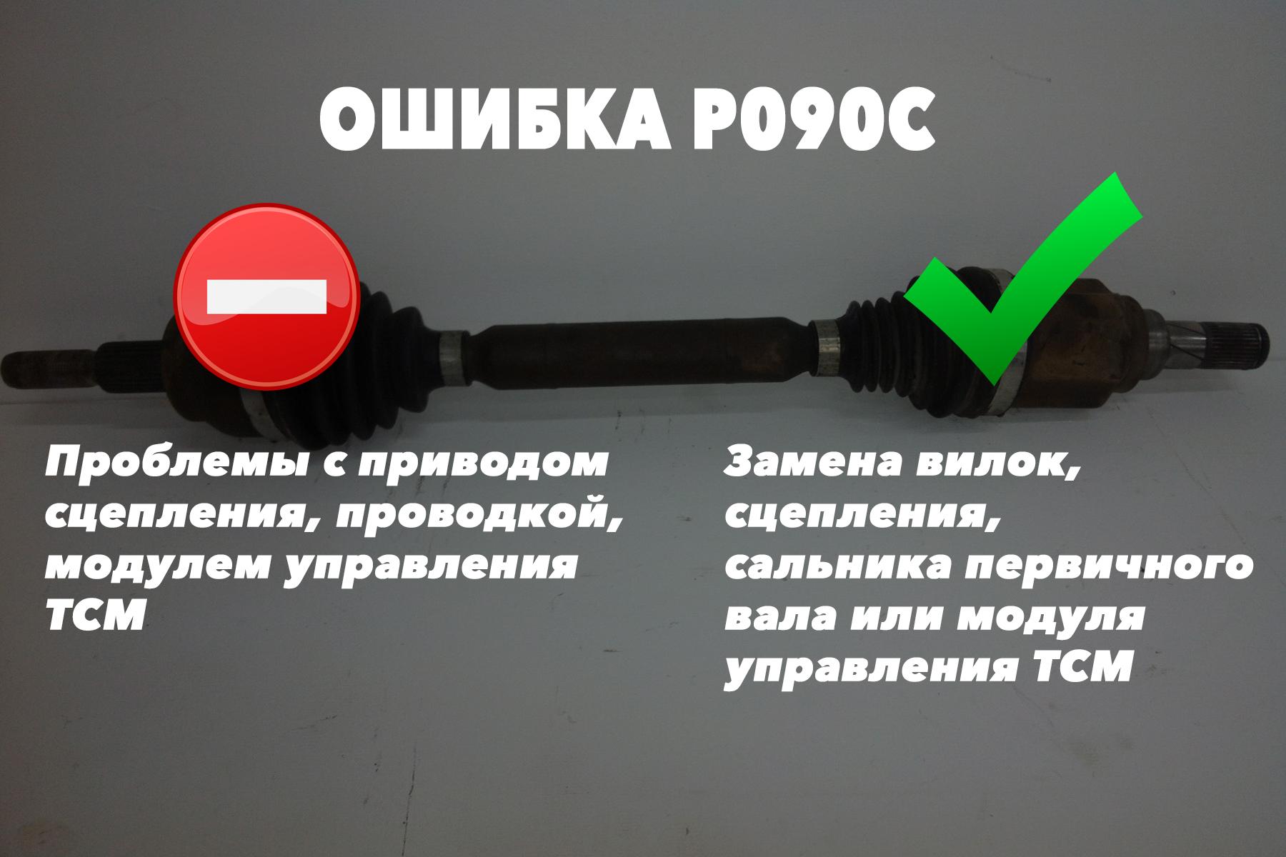 P090C – проблемы с приводом сцепления, проводкой