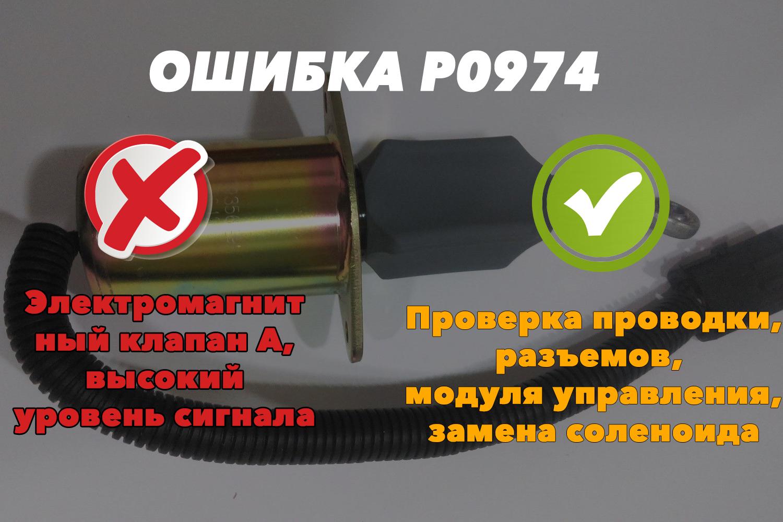 P0974 – высокий уровень сигнала, электромагнитный клапан А переключения передач