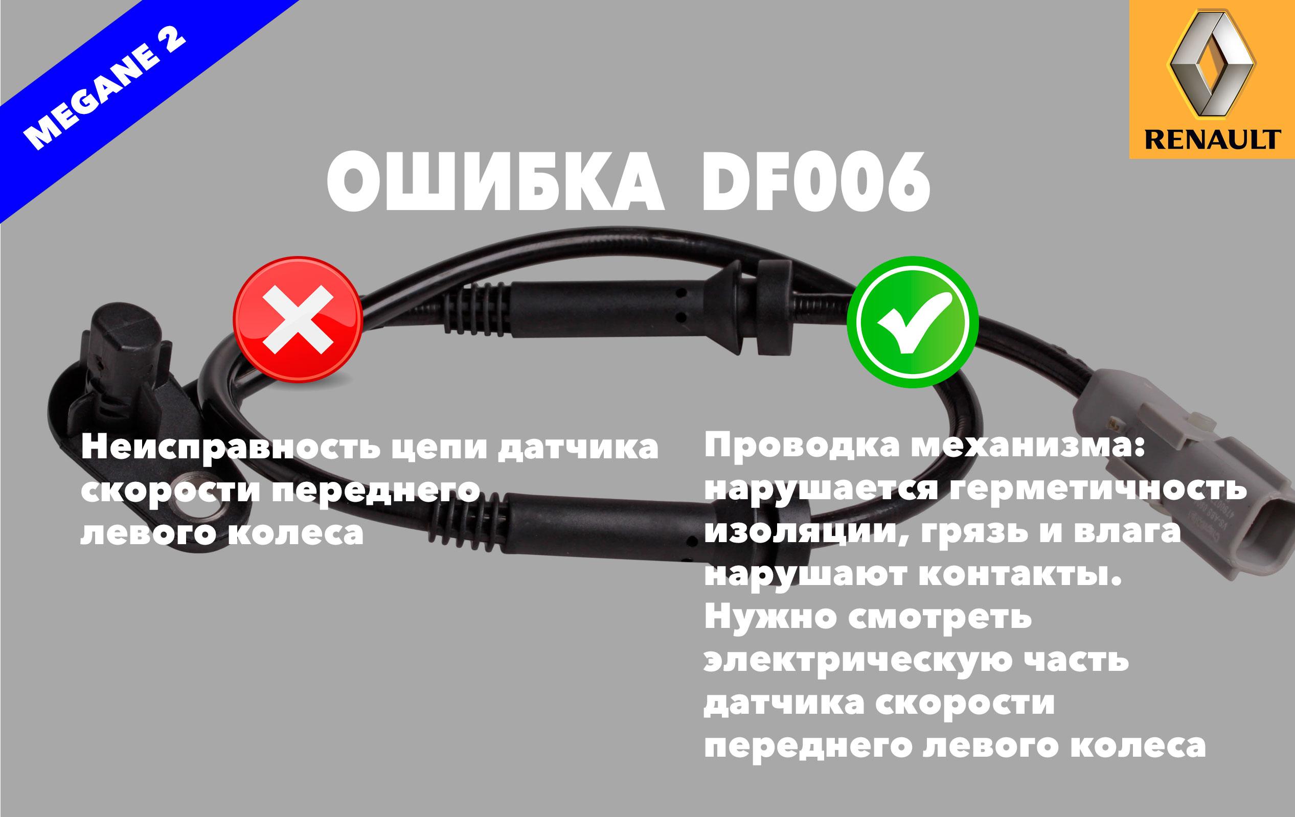 Рено Меган 2 код ошибки DF006 – неисправность цепи датчика скорости переднего левого колеса