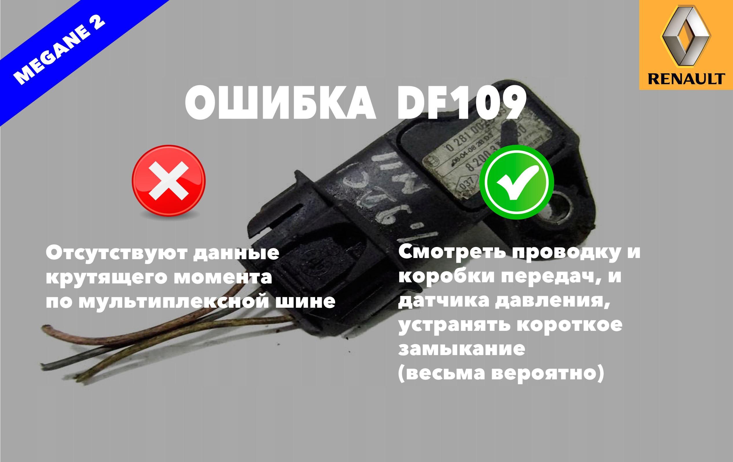 Рено Меган 2 код ошибки DF109 – отсутствуют данные крутящего момента по мультиплексной шине