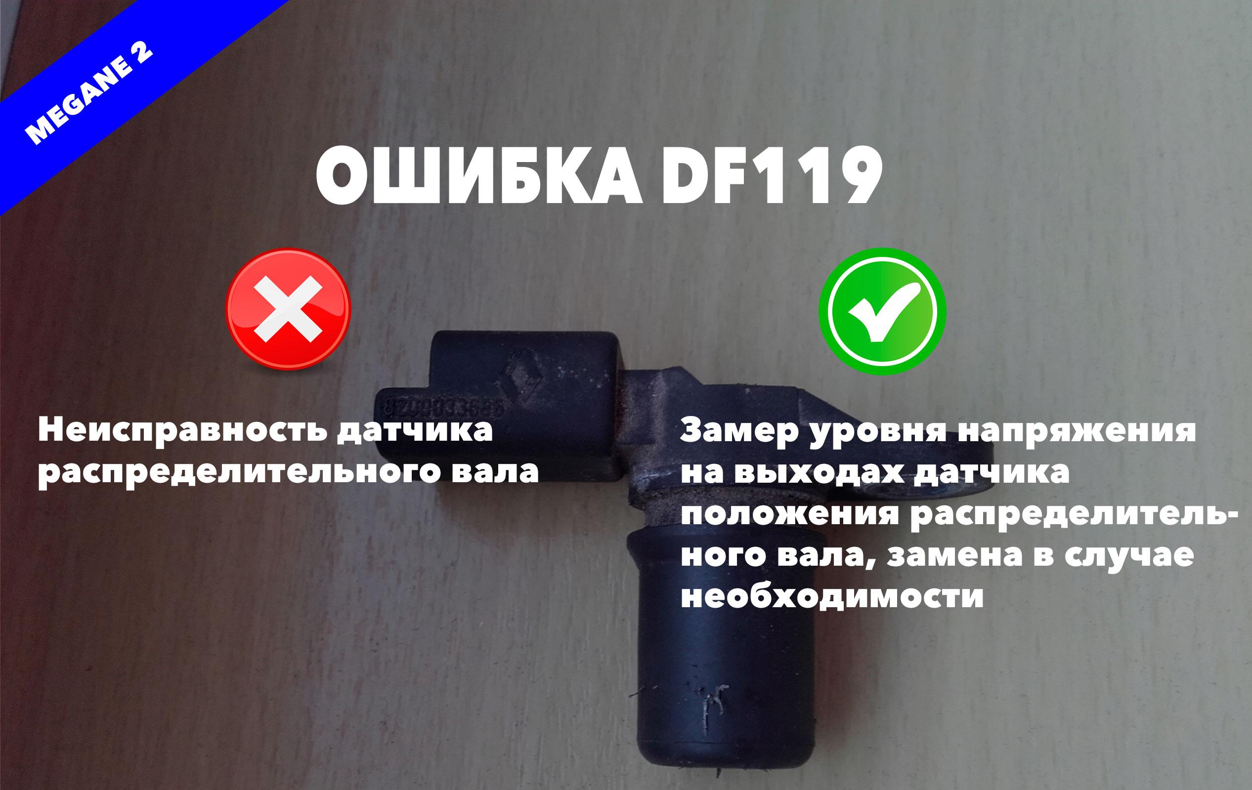 Рено Меган 2 код ошибки DF119 – неисправность датчика распределительного вала