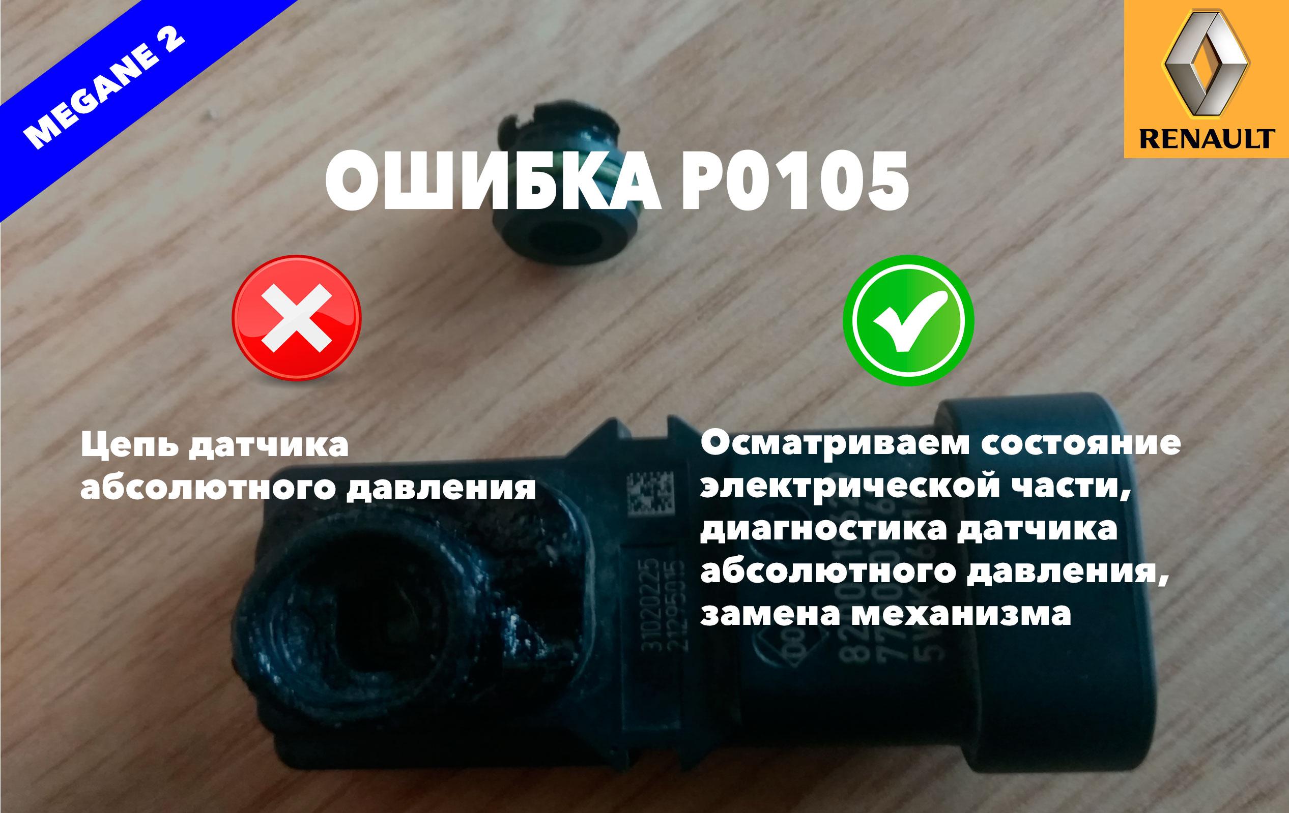 Рено Меган 2 код ошибки P0105 – датчик абсолютного давления