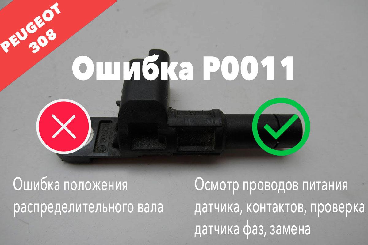 P0011 – ошибка положения распределительного вала Пежо 308
