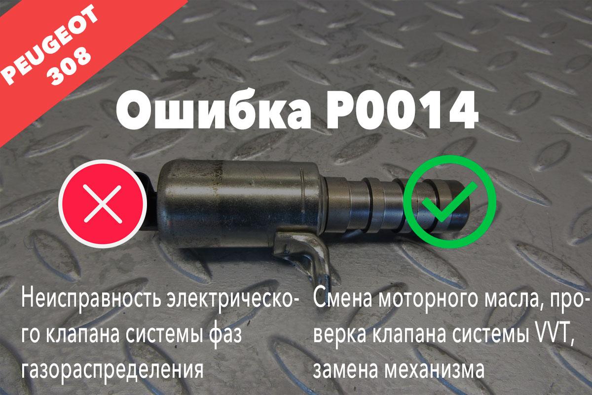 Пежо 308 ошибка P0014 – неисправность электрического клапана системы фаз газораспределения
