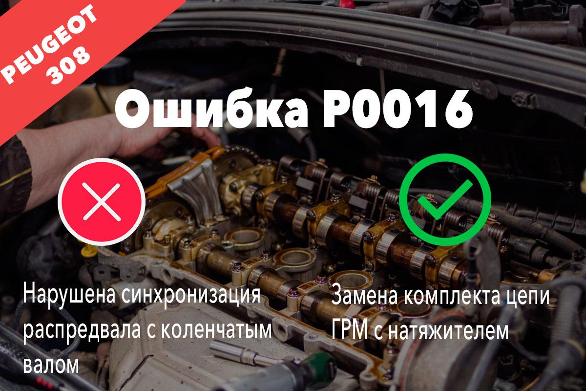 Пежо 308 ошибка P0016 – нарушена синхронизация распредвала с коленчатым валом