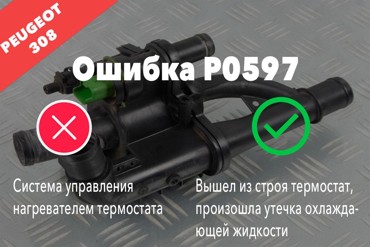 Пежо 308 ошибка P0597 – система управления нагревателем термостата