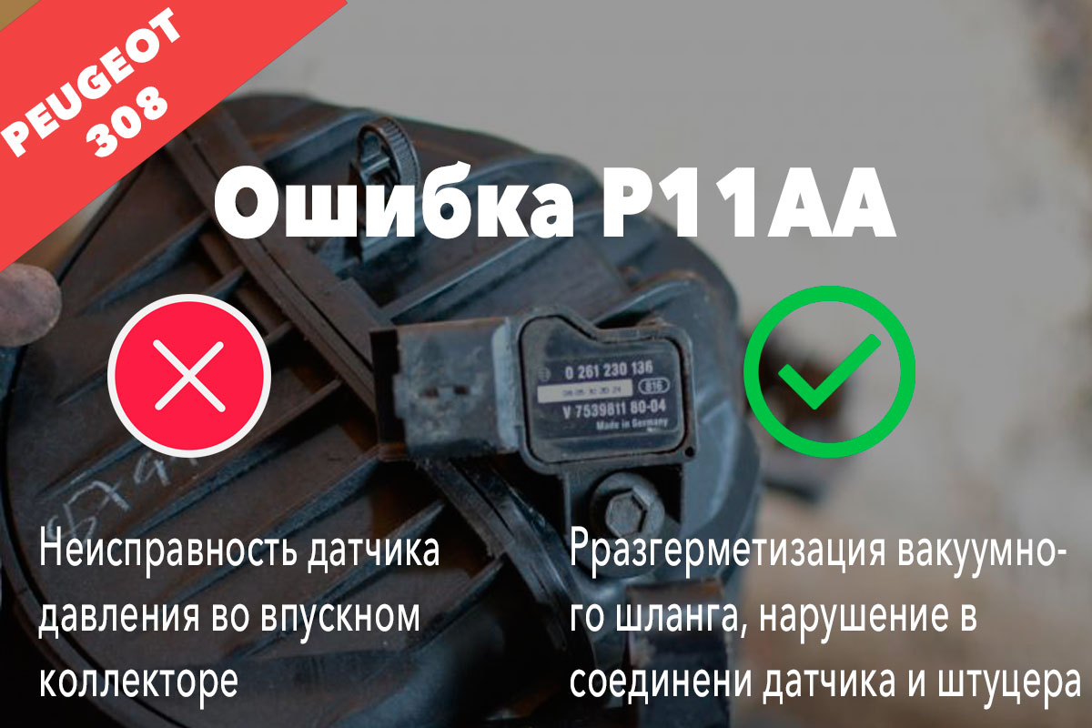 Ошибка P11AA – неисправность датчика давления во впускном коллекторе