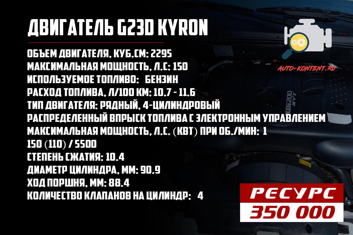 Ресурс двигателя G23D Kyron