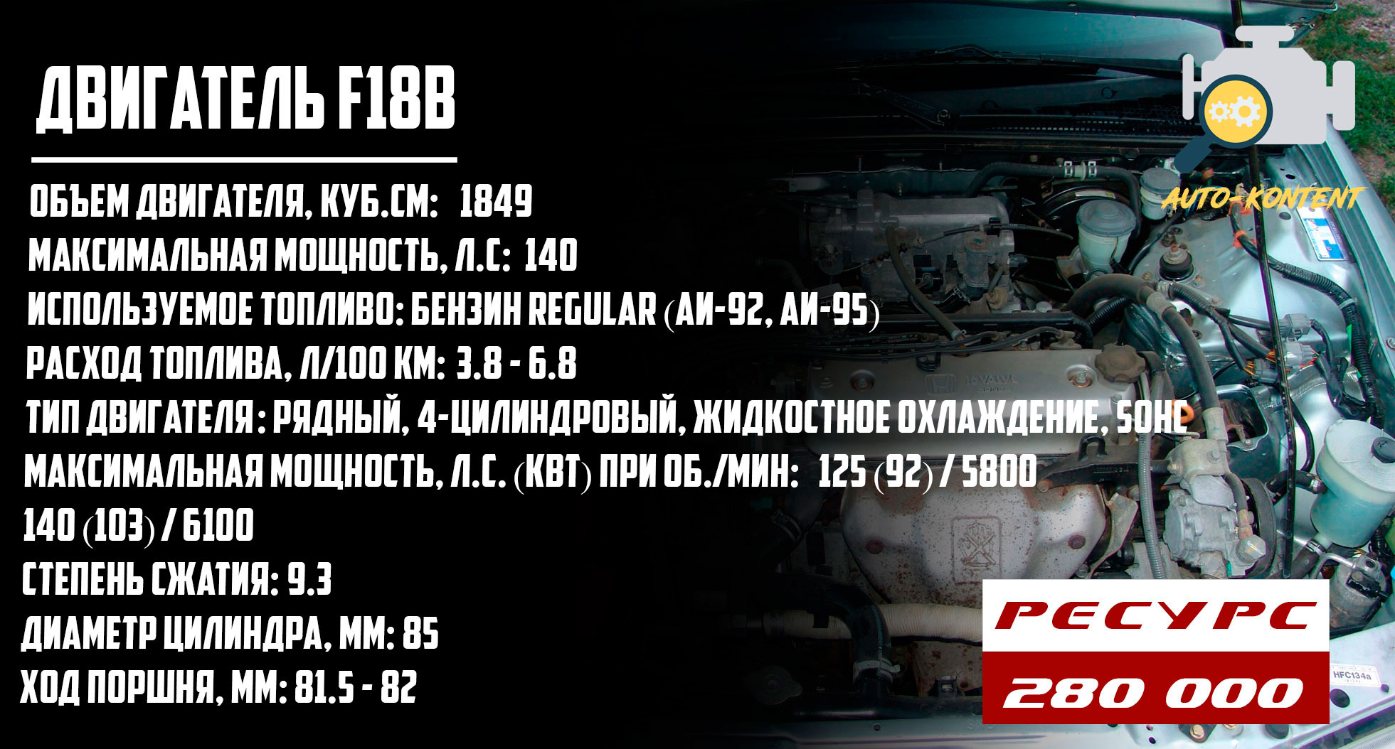 ресурс двигателя F18B