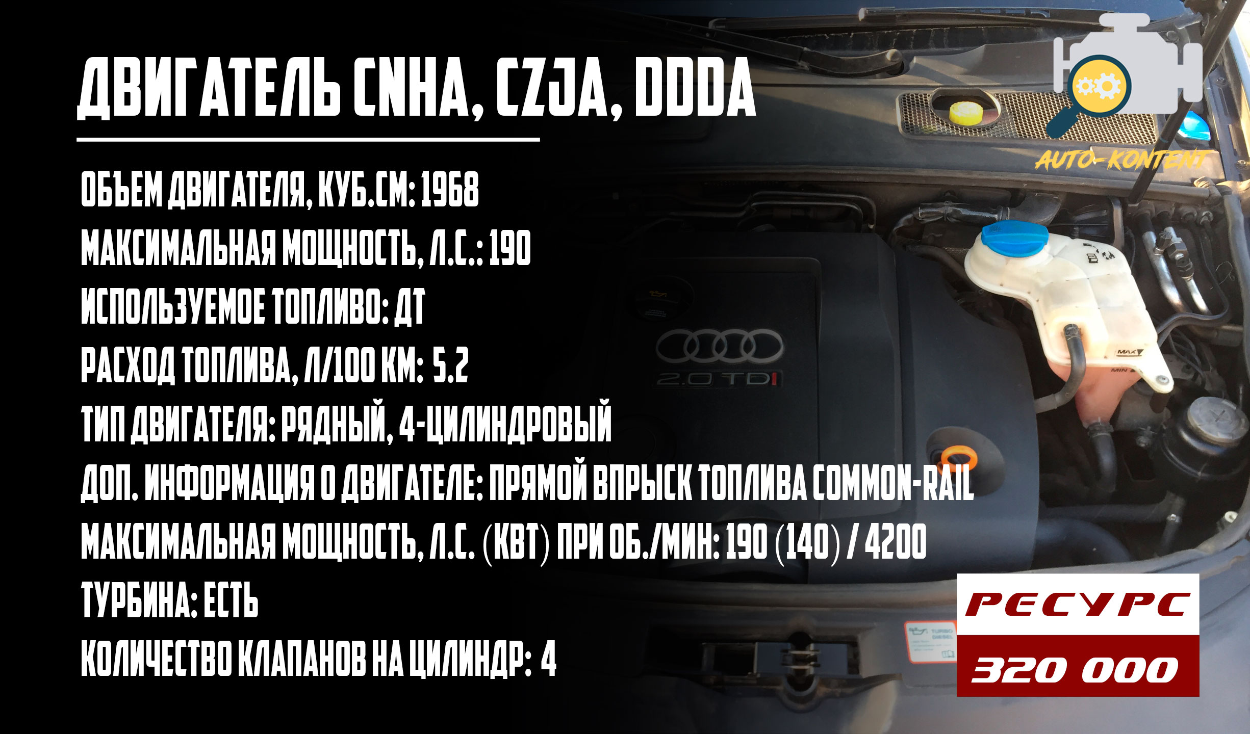 ресурс двигателей CNHA, CZJA, DDDA